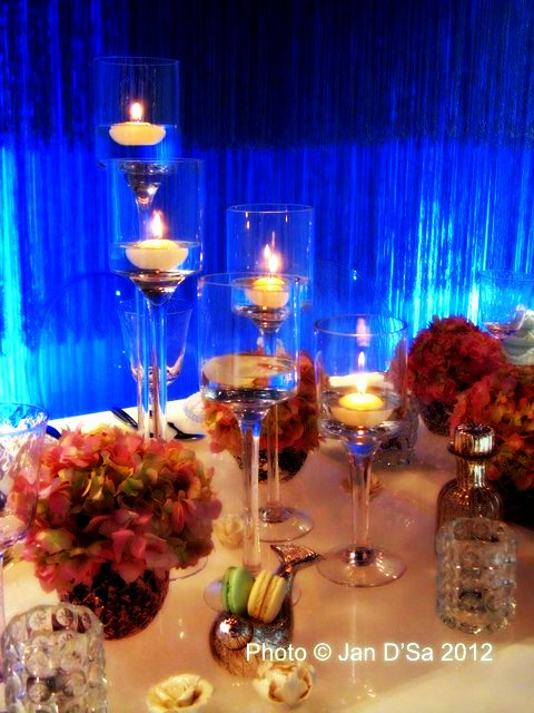 Wedding dinner by candle light.